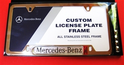 License plate frame with mercedes logo stainless steel for Mercedes benz front license plate frame